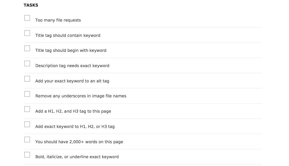 SEO Analysis Report Tasks