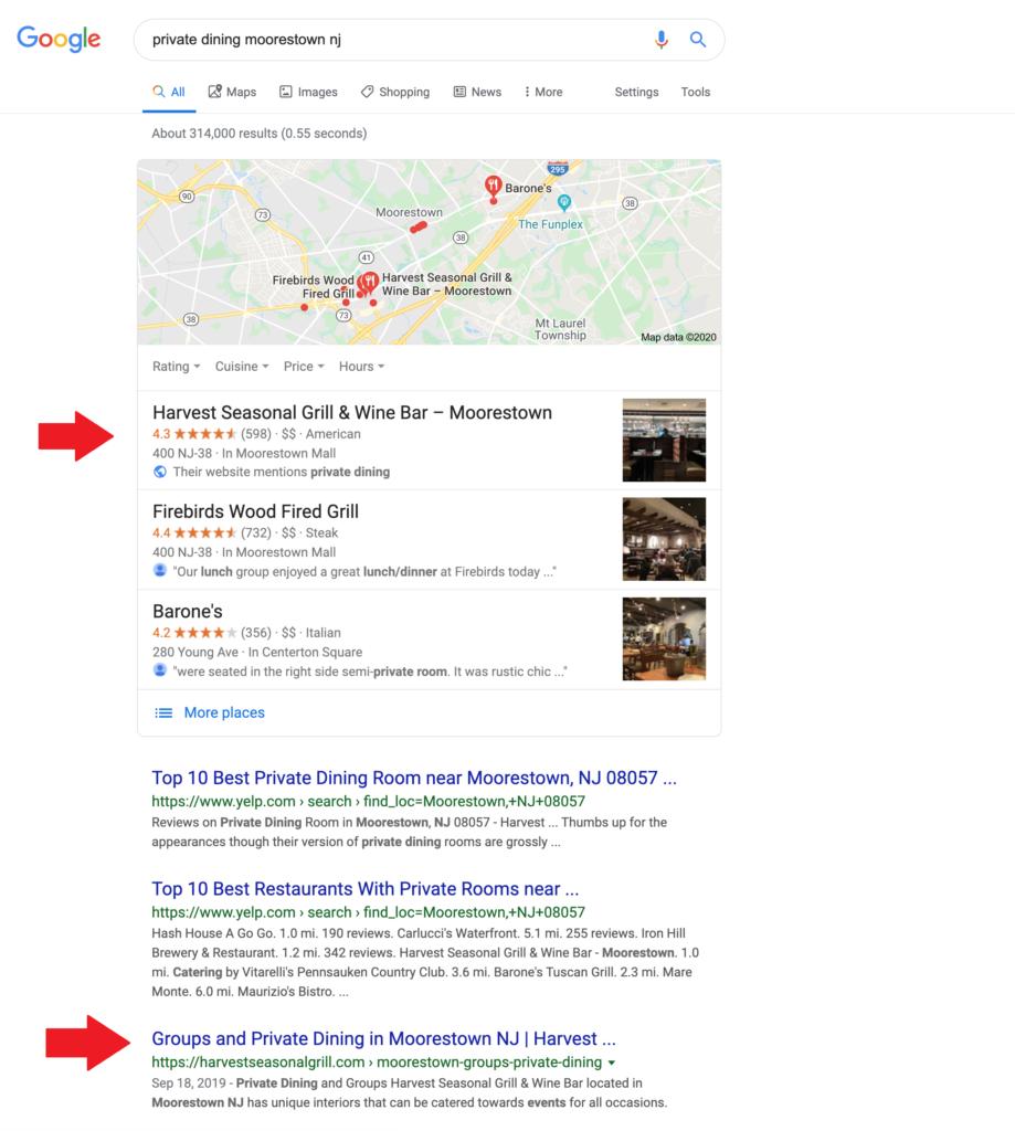 Harvest google maps results