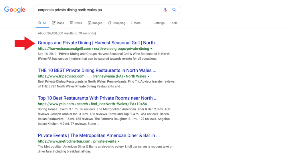 corporate dining search result