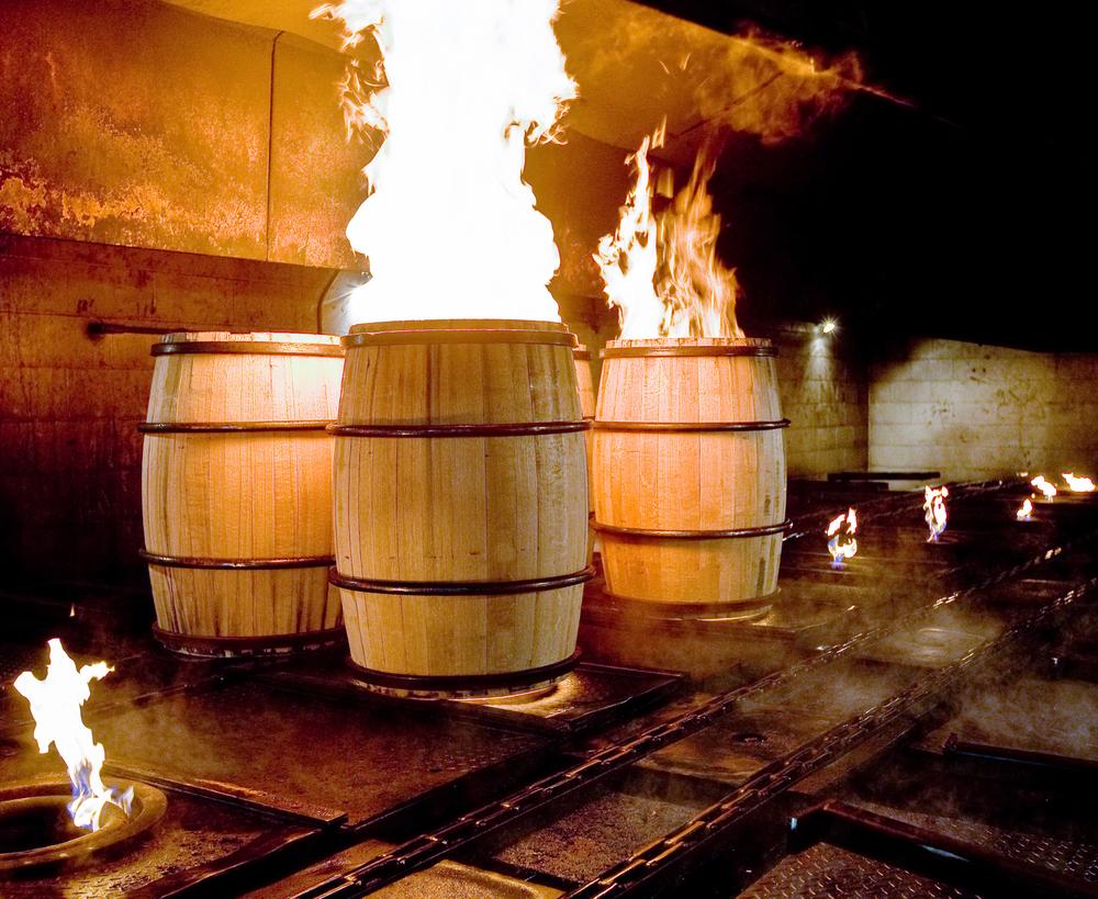 Bourbon barrels being roasted