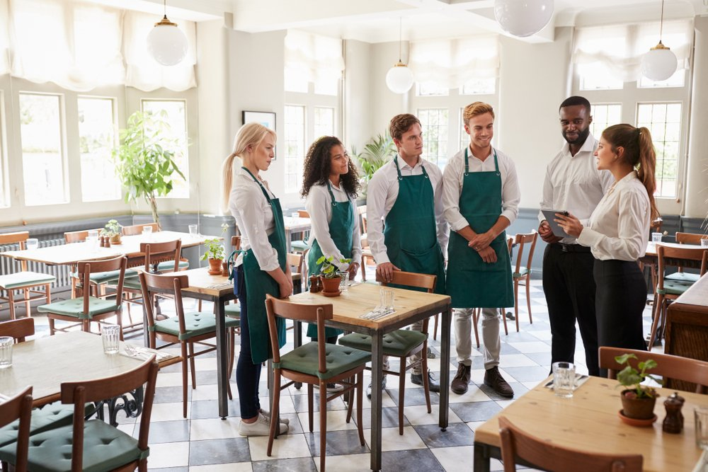 restaurant workers in a meeting
